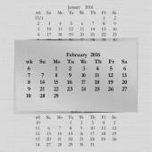 Vector illustration of a calendar month for 2016 pages February against the background of the previous month and next month Week starts on Sunday The image can be applied to any image