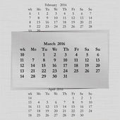 Vector illustration of a calendar month for 2016 pages in March against the background of the previous month and next month Week starts on Monday The image can be applied to any image