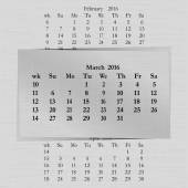 Vector illustration of a calendar month for 2016 pages in March against the background of the previous month and next month Week starts on Sunday The image can be applied to any image