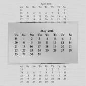 Vector illustration of a calendar month for 2016 pages in May against the background of the previous month and next month Week starts on Sunday The image can be applied to any image