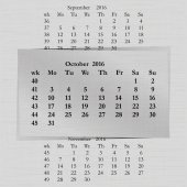 Vector illustration of a calendar month for 2016 pages in October against the background of the previous month and next month Week starts on Monday The image can be applied to any image