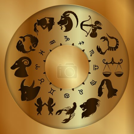 Illustration for Vector illustration of zodiac signs on a gold disk in the center of the star the sun - Royalty Free Image