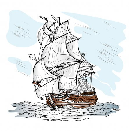 The wind-driven ship swims on a sea...