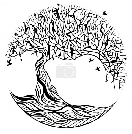 Illustration for Black tree of life on white background - Royalty Free Image