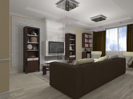3D illustration of a drawing room and kitchen in style eclectici