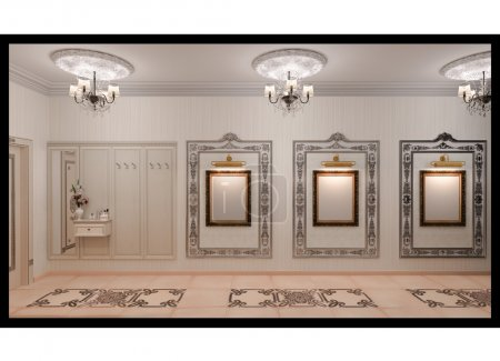 3D illustration of the hall in classic style.