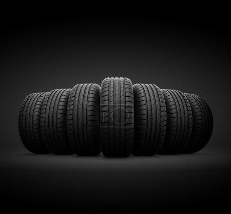 Photo pour Des pneus de véhicule 3D images de concept - image libre de droit