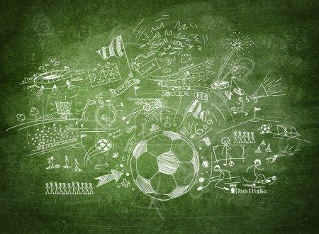 Soccer concept on black board