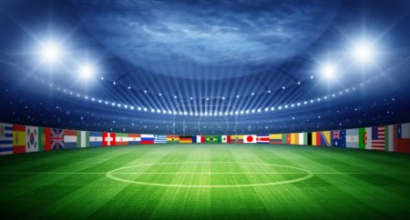 Stadium and nations teams flags