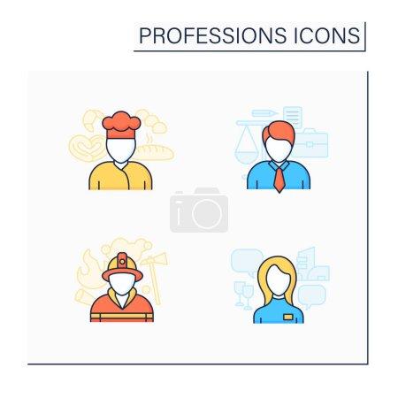 Photo pour Professions icônes de couleur ensemble. Pompier, boulanger, avocate et hôtesse. Diverses professions. Des emplois importants. Concept de carrière. Illustrations vectorielles isolées - image libre de droit