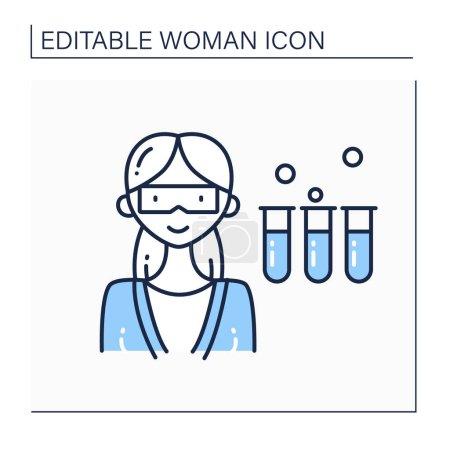 Illustration pour Scientifique femme ligne icône. Chimiste féminine en manteau avec éprouvettes. Avoir des réactifs chimiques. Une carrière dangereuse. Concept de femme forte. Illustration vectorielle isolée.Course modifiable - image libre de droit