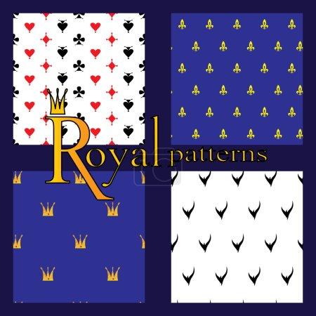 Set of 4 simple royal patterns