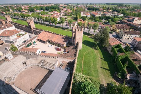 Aerial view of the walled city of Montagnana, Italy.