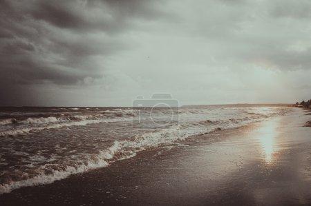 Easy storm in the Black sea. Ukraine, city of Odessa