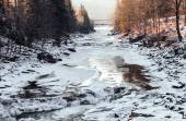 The Waterfall Probiy. The Prut river in the Carpathian mountains. The surroundings of Yaremche