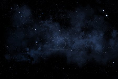 Photo pour Starry night sky illustration with stars and blue nebula - image libre de droit