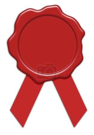 Photo pour Illustration de sceau en cire rouge vierge avec ruban, isolé sur fond blanc - image libre de droit