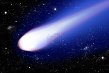 Shiny comet with blue tail on starlit space backgr...