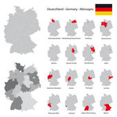 high detailed germany map collection red marked federal states in separated maps illustratiions