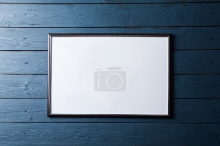 Wood blue panel for background with poster