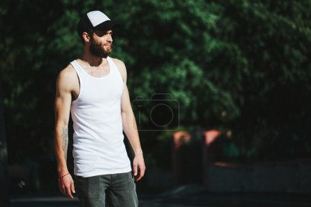 Photo for Blank t-shirt with space for your logo on a hipster man with a beard - Royalty Free Image