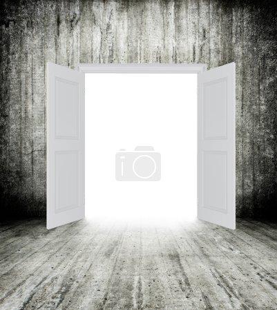 Conceptual image of white opened door