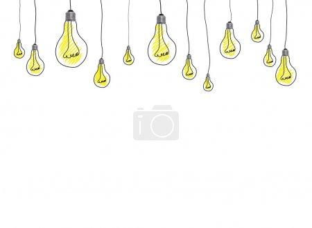 Photo pour Ampoules dessinées à la main idée - image libre de droit