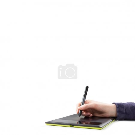 Female hand with  tablet pc
