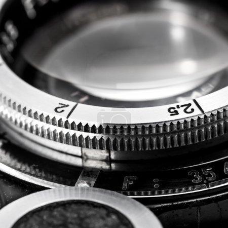 Closeup of old retro film camera lens