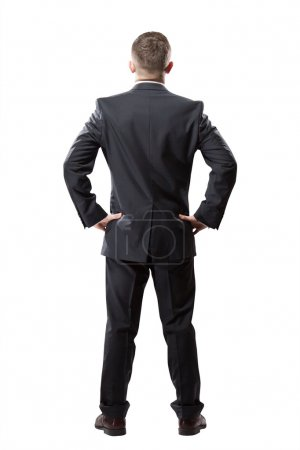 Photo for Portrait of successful businessman. Isolated on white. Back view - Royalty Free Image