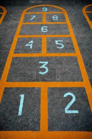 Children hopscotch game closeup
