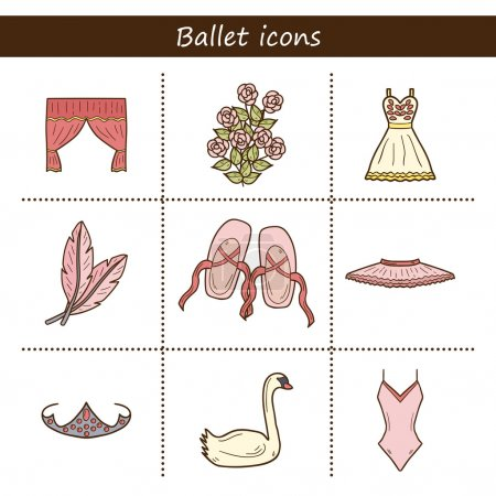 Cartoon objects on ballet theme