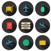 Set of flat airport icons for your design