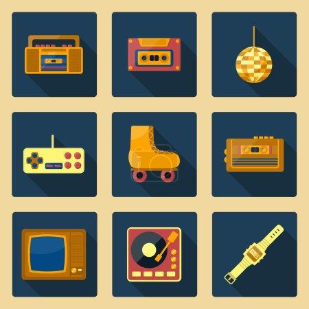 Se of flat icons on 80s theme