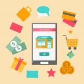Vector illustration on online shopping theme