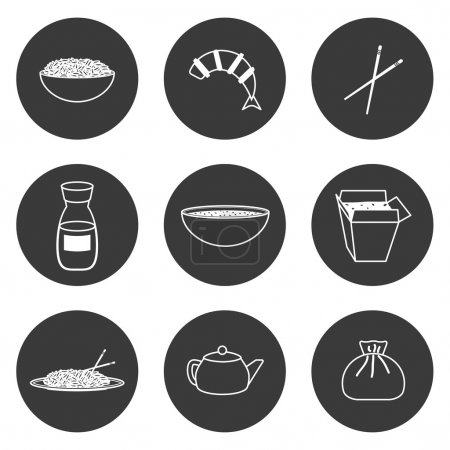 Set of simple icons on chinese cuisine theme