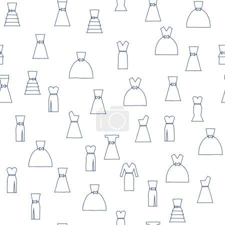 Illustration pour Fond sans couture avec des robes de mariée dessinées à la main pour votre conception - image libre de droit