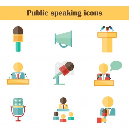 Set of isolated flat icons on public speaking theme with people, microphones, speakers, tribunes for business presentation, seminar or conference