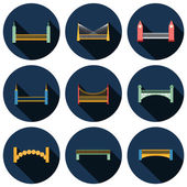 Set of isolated modern bridges flat icons with shadows