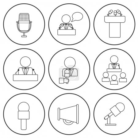Set of isolated thin line icons on public speaking theme with people, microphones, speakers, tribunes for business presentation, seminar or conference
