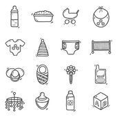 Set of cute hand drawn icons on baby theme Baby care concept with hand drawn objects: baby carriage nipple building blocks baby crib beanbag diapers baby monitor baby bath for your design