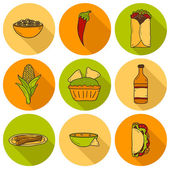 Set of cute cartoon hand drawn shadow icons on mexican food theme: chili taco tobacco birrito nachos tequila rice Travel mexicam cuisine concept You can use it for your site app restaurant
