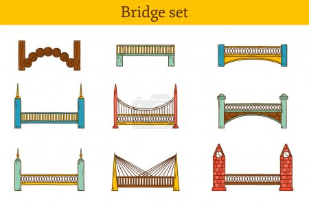 Set of simple cute cartoon colorful hand drawn bridge icons. City and travel concept
