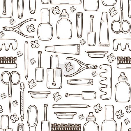Illustration for Seamless background with cute hand drawn objects on manicure pedicure theme: clippers, polish, file, nipper, creams. Beauty concept for your design - Royalty Free Image