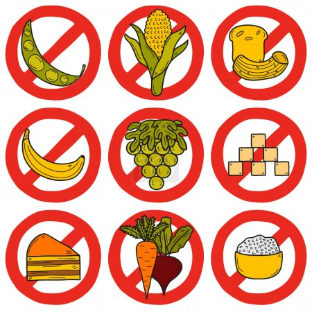Set of products prohibited during paleo diet in hand drawn cartoon style: corn, cake, rice, carrot, bread, bean, sugar. Healthy food concept