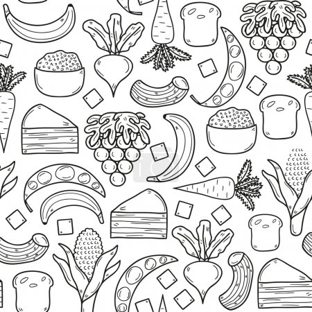 Seamless background with products prohibited during paleo diet in hand drawn cartoon outline style: corn, cake, rice, carrot, bread, bean, sugar. Healthy food concept