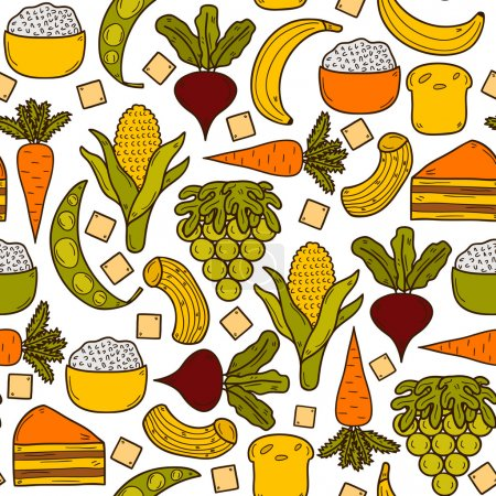 Seamless background with products prohibited during paleo diet in hand drawn cartoon style: corn, cake, rice, carrot, bread, bean, sugar. Healthy food concept