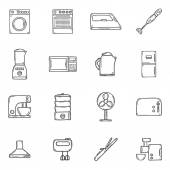 Set of objects in hand drawn cartoon outline style on home appliance theme: fridge kettle microwave steamer mixer iron stove House care and housekeeping concept for your design
