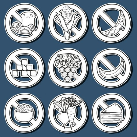 Set of stickers with products prohibited during paleo diet in hand drawn cartoon style: corn, cake, rice, carrot, bread, bean, sugar. Healthy food concept