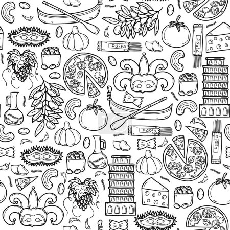 Seamless background with cartoon objects in hand drawn outline style on Italy theme: gondla, food, mask, pisa, coliseum, olive oil, Vector travel concept